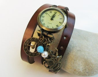 I m late leather wrap watch