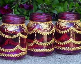 SET of 5 PINK MINI Mason Jar Lanterns Decorated With Henna Style Accents Christmas Ornaments Party Bridal Shower Decor Party Favors