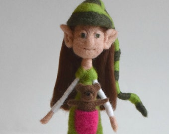 Posable Needle Felted Girl Elf with Teddy Bear