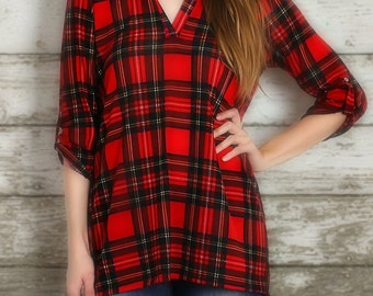 Plaid print v-neck tunic