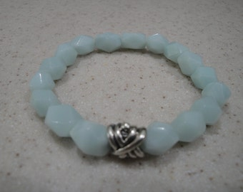 Natural faceted amazonite gemstone stretch bracelet