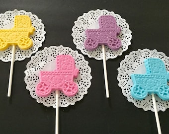 Baby Shower Carriages Chocolate Lollipops