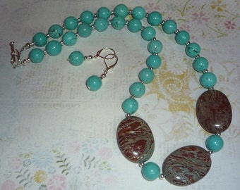 Labor Day Sale Real Turquoise and Jasper Necklace and Earrings Set