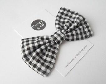 Black and White Check Hair Bow, Fabric Hair Bow, Rockabilly Hair Bow, Rockabilly Accessories, Bow Tie, Hair Bows for Teens