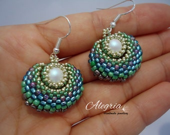 peyote earrings SWAROVSKI pearl