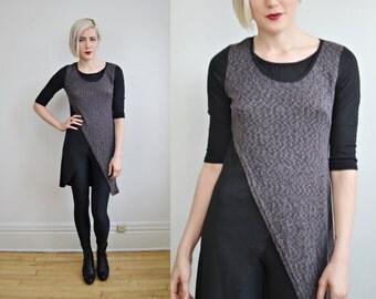 90s two tone black grey cotton top shirt mini dress GRUNGE small AU 6-10