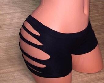 Cut Out Sides Slashed Boy Shorts