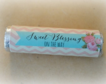 Lifesaver, Mint Wrapper,  Printable Pink Chevron Sweet Blessing - Baby Shower Favor - PDF, Instant Download