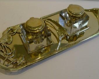 "Fabulous Art Nouveau ""Geschutz"" Double Inkwell / Inkstand c.1895"