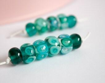 Bubble Beads - Lampwork Glass Bead Set - Doughnut Bead Set - Trapped Bubble Bead - Teal and Turquoise - UK Artisan Handmade - Lampwork Glass