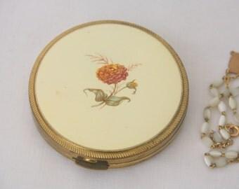 Vintage Brass Compact Powder Box with Mirror, Flower Design