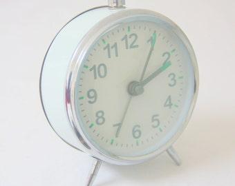 Vintage Mechanical Metal Alarm Clock, Mint Green, Working