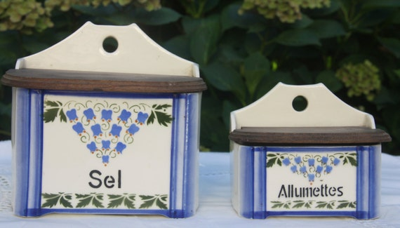 Vintage French Set of Salt and Match Boxes, Ceramic Sel and Allumettes Canisters, Kitchen Storage, Ditmar Urbach