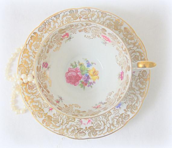Vintage Bavaria Wunsiedel Porcelain Teacup and Saucer, Germany, Gold and Flower Decor, Text