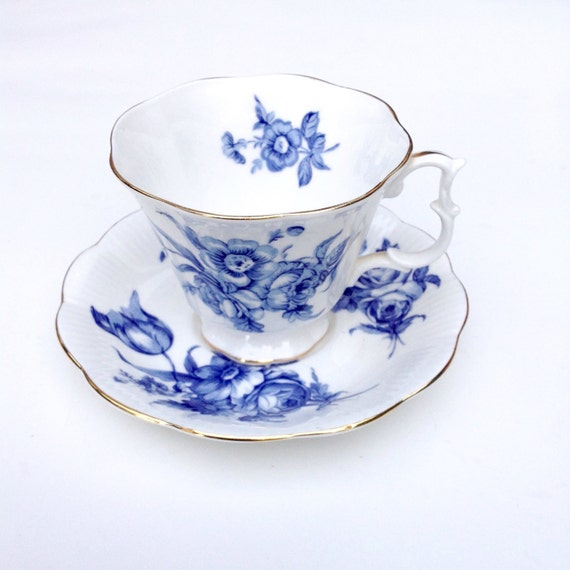 Blue and White Antique Teacup and Saucer Vintage Royal Albert