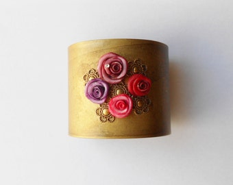 metal Cuff Bracelet, roses made of cold porcelain and rhinestones