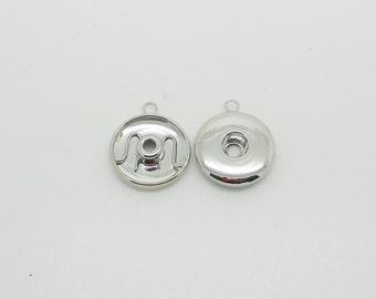 snap chunk silver metal pendant