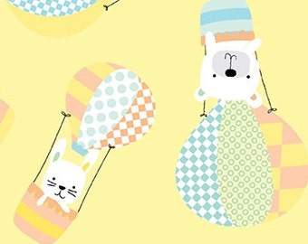 Breezy Baby - Up Up and Away on Yellow background - by the Half Yard