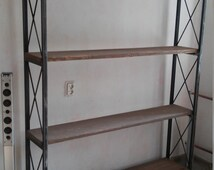 Industrial Style Freestanding Shelving Unit. Handcrafted of Reclaimed Wood supported by Steel Frame.