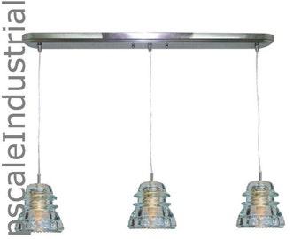 Ceiling Light VINTAGE 1920's-60's Rustic Industrial Lighting Glass Insulator Bar Pendant Light Pendant Lighting Kitchen Island Rustic light