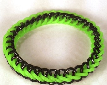 Black and Lime Green Glow-in-the-Dark Stretch Chainmaille Bracelet - Half Persian 3-1