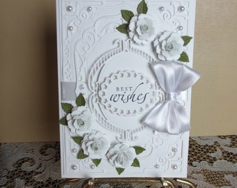 Handmade embellished white wedding card