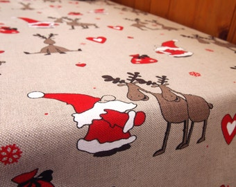 Christmas Linen/Cotton Tablecloth, Linen table top, Linen table cover, Christmas Tablecloth