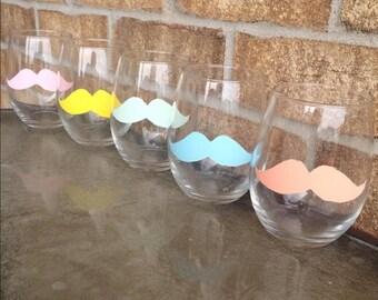 Mustache Wine Glasses