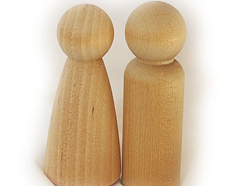 2 x 9cms Wood Peg Dolls (Male and Female), Waldorf Toys, Peg Doll Family, Wedding Cake Toppers, Craft Supplies