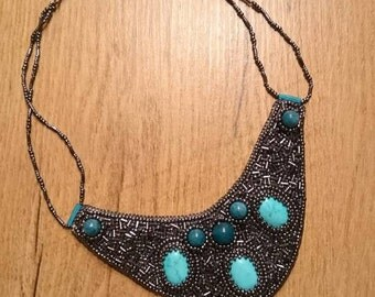 Statement necklace in grey blue, embroidered sapphires, turquoise and glass beads