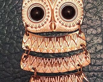 Vintage 1970s Large Owl Necklace Boho Hippie Retro Jewelry