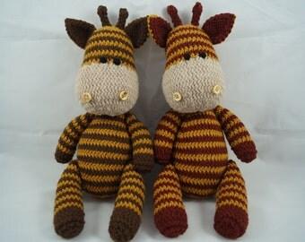 giraffe soft toy hand knitted knit crochet cute cuddly photo prop Easter gift baby shower nursery decor stuffed animal kids Waldorf new baby