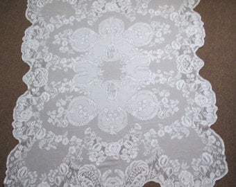Beautiful Vintage Feminine Lacy White Floral Tablecloth