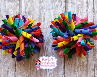 Colorful Corker Hair Bows, Corker Hair Bows, Rainbow Corker Hair Bows, Corker Pig Tail Bows, Corker Rainbow Hair Bows, Rainbow Hair Bows.
