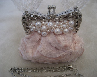 Evening Bag, Evening Clutch, Bridal Clutch, Wedding Clutch Purse Pink with Pearl Beads
