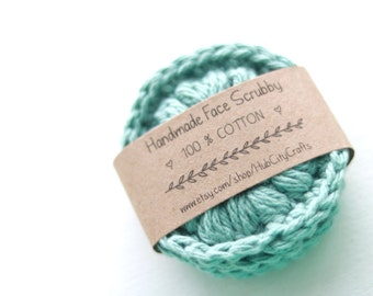 Cotton Face Scrubby Makeup Remover Eco-friendly Crochet- Sage Green- Set of 3