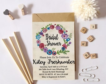 PRINTABLE Floral Wreath Bridal Shower Invite || DIY Bridal Shower Invite || Digital Bridal Shower Invite