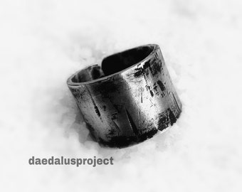 ring ring ring band man.. industrial style. handmade. bad ring. silvered