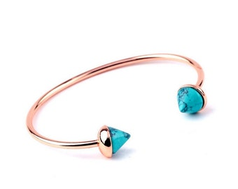 Rose gold plated turquise bracelet, Adjustable spike cuff