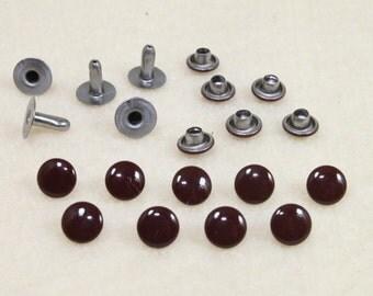 100 Sets of 6mm Dark Brown Rivet / Stud For Leather Craft, bag purse - KIV.27