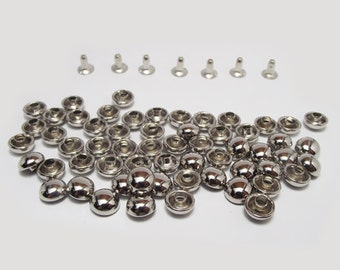 Free Shipping 100 Sets of 6 mm Silver Tone Dome Round Rivets / Studs For Leather Craft, bag purse, belt, Decoration - KIV.27