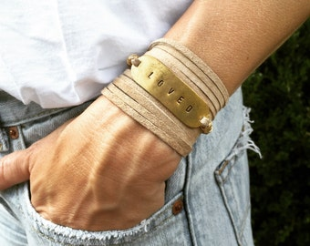 Personalized Leather wrap bracelet, gold and leather wrap bracelet, boho wrap bracelet, personalized bracelet, Indie leather wrap bracelet