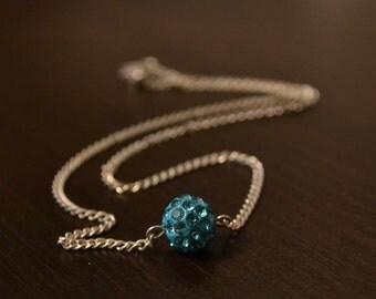 Blue Disco Ball Necklace