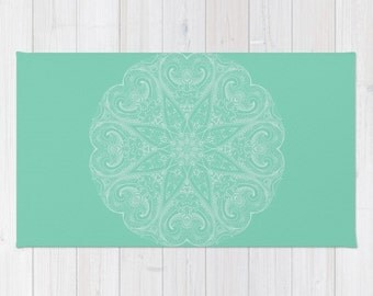 Marvelous Mandala Area Floor Rug Lucite Green Mint White Throw Woven Rectangle Rug  Modern Home Dorm Decor