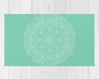 Mandala Area Floor Rug Lucite Green Mint White Throw Woven Rectangle Rug  Modern Home Dorm Decor