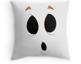 Halloween Ghost Face Pillow Cover White Black Boo 16x16, 18x18, 20x20 Halloween Decor