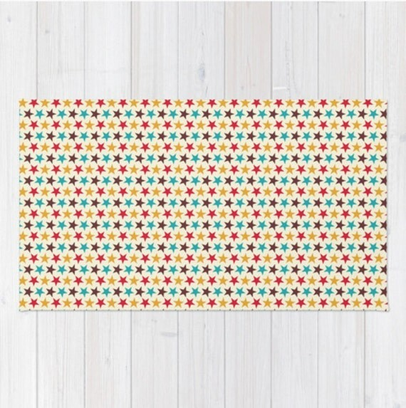 Star Area Rug Red Teal Blue Yellow Gold Retro Circus Stars