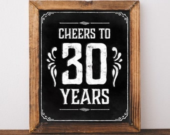 30th birthday decoration. Printable 30th birthday decor. 30th birthday for him. Cheers to 30 years birthday sign. 30th birthday centerpiece