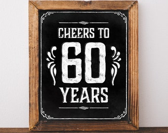 60th Birthday Decorations Printable Poster Bar Decoration