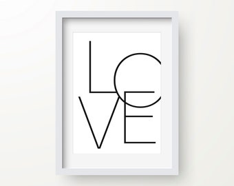 Love Print, Romantic Art, Valentines Day Print, Black And White, Inspirational Quote, Modern Art Print, Digital Print, Wall Art